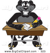 Big Cat Cartoon Vector Clipart of a Cheerful Black Jaguar Mascot Character Taking a Quiz by Toons4Biz