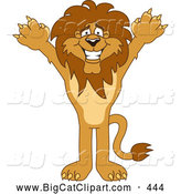 Big Cat Cartoon Vector Clipart of a Cheerful Lion Character Mascot Holding His Arms up by Toons4Biz