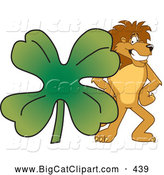 Big Cat Cartoon Vector Clipart of a Cheerful Lion Character Mascot with a Clover by Toons4Biz