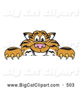 Big Cat Cartoon Vector Clipart of a Cheerful Tiger Character School Mascot Behind a Blank Sign by Toons4Biz