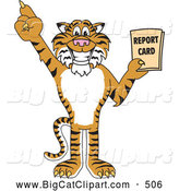 Big Cat Cartoon Vector Clipart of a Cheerful Tiger Character School Mascot Holding a Report Card by Toons4Biz