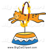 Big Cat Cartoon Vector Clipart of a Cheetah Leaping Through a Flaming Hoop Circus Act by BNP Design Studio