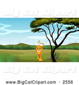 Big Cat Cartoon Vector Clipart of a Cheetah Walking by a Tree by Graphics RF