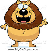 Big Cat Cartoon Vector Clipart of a Chubby Male Lion with an Idea by Cory Thoman