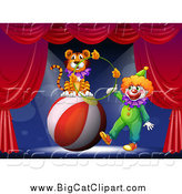 October 22nd, 2014: Big Cat Cartoon Vector Clipart of a Circus Clown and Tiger with a Ball and Hoop by Graphics RF