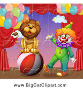 Big Cat Cartoon Vector Clipart of a Circus Lion and Clown Performing on Stage by Graphics RF