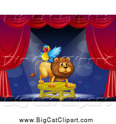 Big Cat Cartoon Vector Clipart of a Circus Parrot on a Lion's Back on Stage by Graphics RF