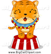Big Cat Cartoon Vector Clipart of a Circus Tiger on a Striped Platform by BNP Design Studio