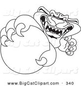 Big Cat Cartoon Vector Clipart of a Coloring Page Outline Design of a Panther Character Mascot Grabbing a Ball by Toons4Biz
