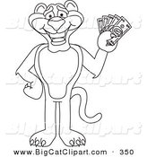 Big Cat Cartoon Vector Clipart of a Coloring Page Outline Design of a Panther Character Mascot Holding Cash by Toons4Biz