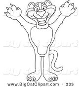Big Cat Cartoon Vector Clipart of a Coloring Page Outline Design of a Panther Character Mascot Reaching up by Toons4Biz