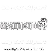 Big Cat Cartoon Vector Clipart of a Coloring Page Outline Design of a Panther Character Mascot with Graduation Text by Toons4Biz