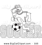 Big Cat Cartoon Vector Clipart of a Coloring Page Outline Design of a Panther Character Mascot with Soccer Text by Toons4Biz