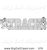 Big Cat Cartoon Vector Clipart of a Coloring Page Outline Design of a Panther Character Mascot with Track Text by Toons4Biz