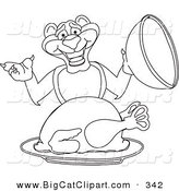 Big Cat Cartoon Vector Clipart of a Coloring Page Outline of a Panther Character Mascot Serving a Turkey by Toons4Biz