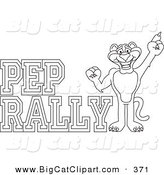Big Cat Cartoon Vector Clipart of a Coloring Page Outline of a Panther Character Mascot with Pep Rally Text by Toons4Biz