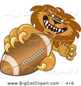 Big Cat Cartoon Vector Clipart of a Competitive Lion Character Mascot Grabbing a Football by Toons4Biz