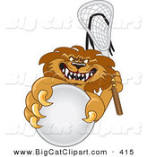 Big Cat Cartoon Vector Clipart of a Competitive Lion Character Mascot Playing Lacrosse by Toons4Biz