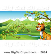 Big Cat Cartoon Vector Clipart of a Cropped Tiger Sitting by a Creek by Graphics RF