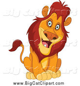 Big Cat Cartoon Vector Clipart of a Curious Sitting Male Lion Cocking His Head by Yayayoyo