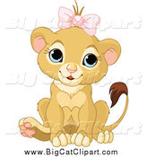 Big Cat Cartoon Vector Clipart of a Cute Baby Female Lion Wearing a Pink Bow by Pushkin