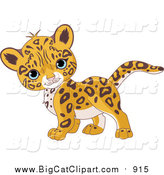 Big Cat Cartoon Vector Clipart of a Cute Baby Jaguar Walking by Pushkin