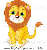Big Cat Cartoon Vector Clipart of a Cute Baby Male Lion Sitting by Pushkin