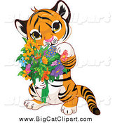Big Cat Cartoon Vector Clipart of a Cute Baby Tiger Holding Flowers by Pushkin