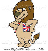 Big Cat Cartoon Vector Clipart of a Cute British Lion Wearing a Vest by Dennis Holmes Designs
