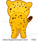 Big Cat Cartoon Vector Clipart of a Cute Cheetah from Behind by BNP Design Studio