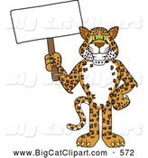 Big Cat Cartoon Vector Clipart of a Cute Cheetah, Jaguar or Leopard Character School Mascot Holding a Blank Sign by Toons4Biz
