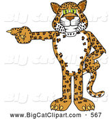 Big Cat Cartoon Vector Clipart of a Cute Cheetah, Jaguar or Leopard Character School Mascot Pointing Left by Toons4Biz