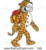 Big Cat Cartoon Vector Clipart of a Cute Cheetah, Jaguar or Leopard Character School Mascot Walking and Wearing a Backpack by Toons4Biz
