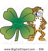 Big Cat Cartoon Vector Clipart of a Cute Cheetah, Jaguar or Leopard Character School Mascot with a Clover by Toons4Biz