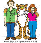 Big Cat Cartoon Vector Clipart of a Cute Cheetah, Jaguar or Leopard Character School Mascot with Teachers or Parents by Toons4Biz
