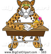Big Cat Cartoon Vector Clipart of a Cute Cheetah, Jaguar or Leopard Character School Mascot Writing in Class by Toons4Biz