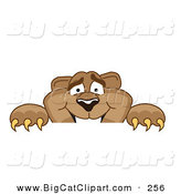 Big Cat Cartoon Vector Clipart of a Cute Cougar Mascot Character Peeking over a Surface by Toons4Biz