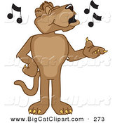 Big Cat Cartoon Vector Clipart of a Cute Cougar Mascot Character Singing by Toons4Biz