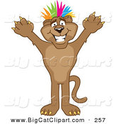 Big Cat Cartoon Vector Clipart of a Cute Cougar Mascot Character with Colorful Hair by Toons4Biz
