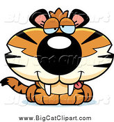 Big Cat Cartoon Vector Clipart of a Cute Drunk Baby Tiger by Cory Thoman