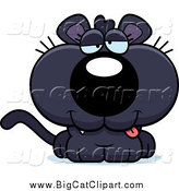 Big Cat Cartoon Vector Clipart of a Cute Drunk Black Panther Cub by Cory Thoman