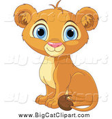 Big Cat Cartoon Vector Clipart of a Cute Happy Lion Cub Sitting by Pushkin