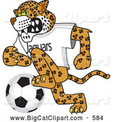 Big Cat Cartoon Vector Clipart of a Cute Jaguar Character School Mascot Playing Soccer by Toons4Biz