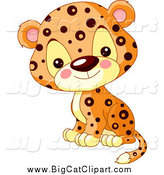 Big Cat Cartoon Vector Clipart of a Cute Jaguar Cub Sitting by Pushkin