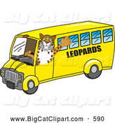 Big Cat Cartoon Vector Clipart of a Cute Leopard Character School Mascot Driving a Bus by Toons4Biz