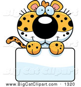 Big Cat Cartoon Vector Clipart of a Cute Leopard Cub over a Blank Sign by Cory Thoman