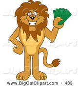 Big Cat Cartoon Vector Clipart of a Cute Lion Character Mascot Holding Cash by Toons4Biz