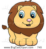 March 7th, 2016: Big Cat Cartoon Vector Clipart of a Cute Lion Cub Smiling by Cory Thoman