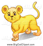 Big Cat Cartoon Vector Clipart of a Cute Lion Cub Walking and Smiling by Graphics RF