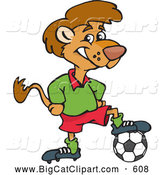 Big Cat Cartoon Vector Clipart of a Cute Lion Resting His Foot on a Soccer Ball by Dennis Holmes Designs